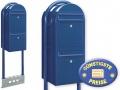 Briefkastenanlage 2 Fächer blau freistehend Cenator BF 525