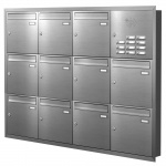 Unterputz Briefkastenanlage 11 Fächer mit Funktionskasten Edelstahl Cenator KN-UP-111-110-E