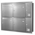 Unterputz Briefkastenanlage 4 Fächer mit Funktionskasten Edelstahl Cenator KN-UP-41-110-E