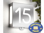Außenleuchte Edelstahl mit Hausnummer und Sensor Cenator CM 23