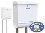 Briefkasten mit Zeitungsbox und Ständer weiß Cenator BW 210