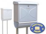 Briefkasten mit Zeitungsbox und Ständer silber Cenator BW 211