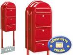 Briefkastenanlage 3 Fach rot freistehend Cenator BF 535