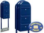 Briefkastenanlage 3 Fach schwarzblau freistehend Cenator BF 537