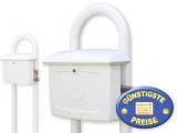 Kunststoff-Briefkasten weiß mit Ständer Cenator BW 200