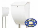 Briefkasten weiß mit Standrohren Cenator BW 208