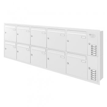 Unterputz Briefkastenanlage 10 Fächer mit Funktionskasten Cenator KN-UP-101-110