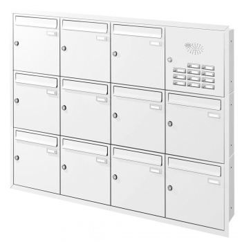 Unterputz Briefkastenanlage 11 Fächer mit Funktionskasten Cenator KN-UP-111-110