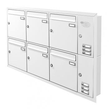 Unterputz Briefkastenanlage 6 Fächer mit Funktionskasten Cenator KN-UP-61-110