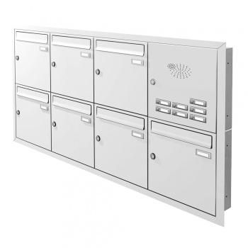 Unterputz Briefkastenanlage 7 Fächer mit Funktionskasten Cenator KN-UP-71-110