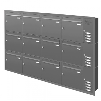 Unterputz Briefkastenanlage 12 Fächer mit Funktionskasten Cenator KN-UP-121-110 graualuminium RAL 9007