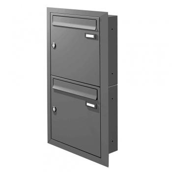 Unterputz Briefkastenanlage 2 Fächer Cenator KN-UP-20-110-A graualuminium RAL 9007