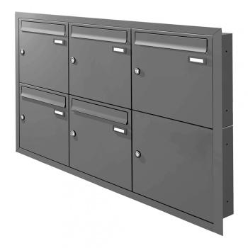 Unterputz Briefkastenanlage 5 Fächer Cenator KN-UP-50-110 graualuminium RAL 9007