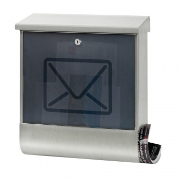 Edelstahlbriefkasten mit Zeitungsbox Cenator BW 586