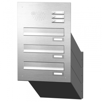 Mauerdurchwurf Briefkastenanlage 3 Fächer mit Funktionskasten Edelstahl Cenator KN-MD-31-OR-E