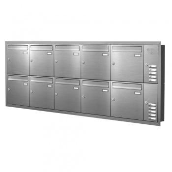 Unterputz Briefkastenanlage 10 Fächer mit Funktionskasten Edelstahl Cenator KN-UP-101-110-E