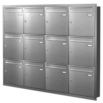 Unterputz Briefkastenanlage 12 Fächer Edelstahl Cenator KN-UP-120-110-E