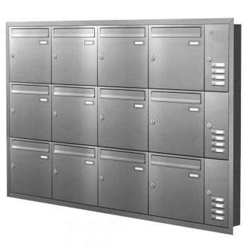 Unterputz Briefkastenanlage 12 Fächer mit Funktionskasten Edelstahl Cenator KN-UP-121-110-E