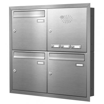 Unterputz Briefkastenanlage 3 Fächer mit Funktionskasten Edelstahl Cenator KN-UP-31-110-E