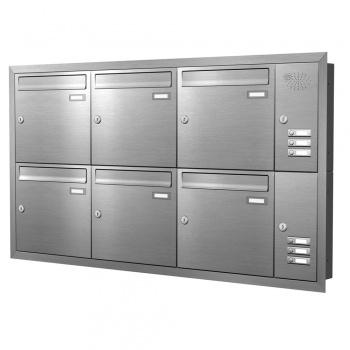 Unterputz Briefkastenanlage 6 Fächer mit Funktionskasten Edelstahl Cenator KN-UP-61-110-E