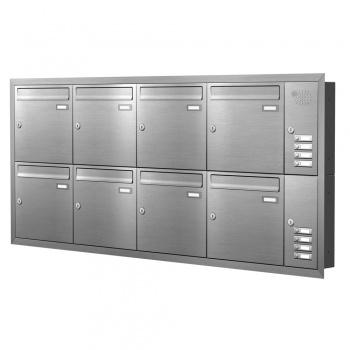 Unterputz Briefkastenanlage 8 Fächer mit Funktionskasten Edelstahl Cenator KN-UP-81-110-E
