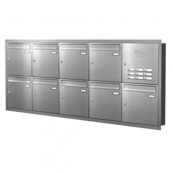 Unterputz Briefkastenanlage 9 Fächer mit Funktionskasten Edelstahl Cenator KN-UP-91-110-E