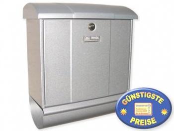 Briefkasten mit Zeitungsbox silber Cenator BW 163