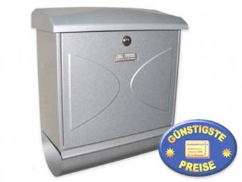 Briefkasten mit Zeitungsbox silber Cenator BW 167