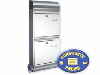 Briefkastenanlage 2-fach Edelstahl mit Box Cenator BW 246