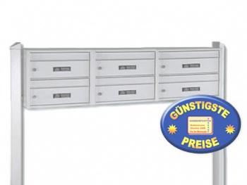 Briefkastenanlage 6 Fächer freistehend silber Cenator BW 283