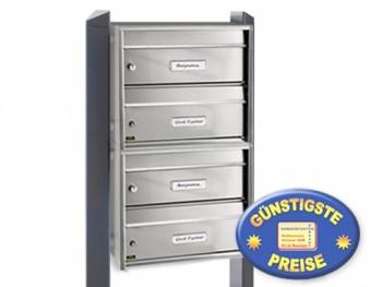 Briefkastenanlage Edelstahl 4 Fächer freistehend Cenator BW 570