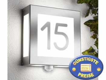 Außenleuchte Edelstahl mit Hausnummer und Sensor Cenator CM 21