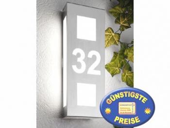 Wandleuchte Edelstahl mit Hausnummer Cenator CM 47