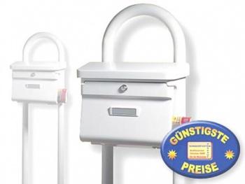 Kunststoff Briefkasten klassisch weiß mit Ständer Cenator BW 199