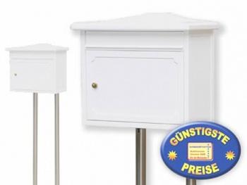 Briefkasten klassisch weiß mit Ständer Cenator BW 207