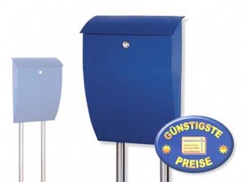 Briefkasten blau mit Standrohren Cenator BW 209