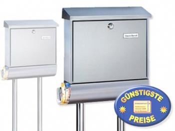 Edelstahl Standbriefkasten mit Zeitungsbox Cenator BW 214