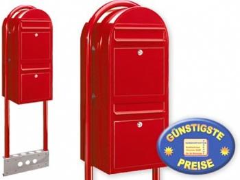 Briefkastenanlage 2 Fächer rot freistehend Cenator BF 526