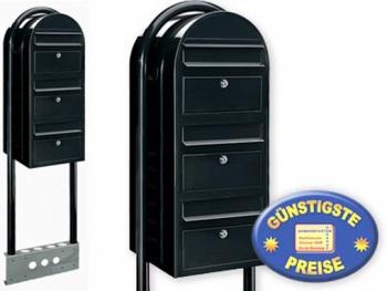 Briefkastenanlage 3 Fach schwarz freistehend Cenator BF 539