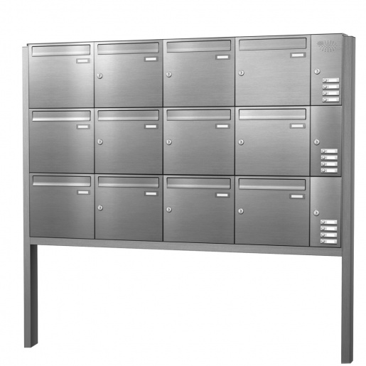 Briefkastenanlage freistehend Edelstahl 12 Fächer mit Funktionskasten Cenator KN-FS-121-244-E