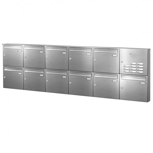 Briefkastenanlage 11 Fächer Edelstahl mit Funktionskasten Cenator KN-AP-111-244-E