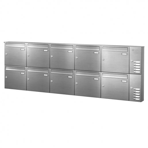 Briefkastenanlage 10 Fächer Edelstahl mit Funktionskasten Cenator KN-AP-101-244-E