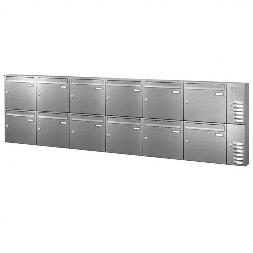 Briefkastenanlage 12 Fächer Edelstahl mit Funktionskasten Cenator KN-AP-121-244-E