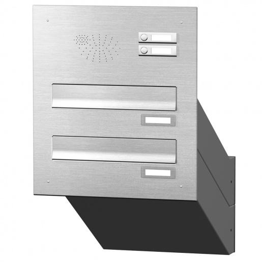 Mauerdurchwurf Briefkastenanlage 2 Fächer mit Funktionskasten Edelstahl Cenator KN-MD-21-OR-E