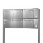 Briefkastenanlage freistehend Edelstahl 6 Fächer mit Funktionskasten Cenator KN-FS-61-244-E