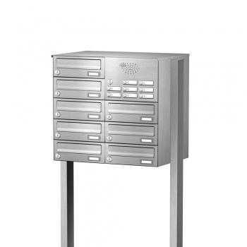 Briefkastenanlage freistehend Edelstahl 8 Fächer mit Funktionskasten Cenator KN-FS-81-244-H-E