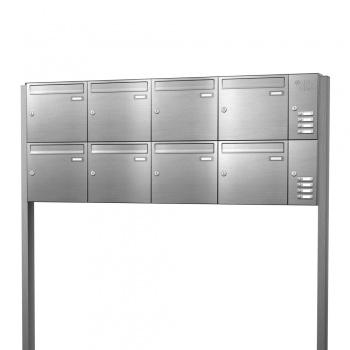 Briefkastenanlage freistehend Edelstahl 8 Fächer mit Funktionskasten Cenator KN-FS-81-244-E