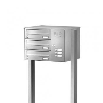 Briefkastenanlage freistehend Edelstahl 3 Fächer mit Funktionskasten Cenator KN-FS-31-244-H-E
