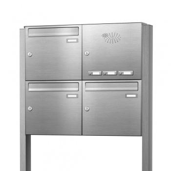 Briefkastenanlage freistehend Edelstahl 3 Fächer mit Funktionskasten Cenator KN-FS-31-244-E