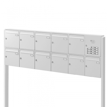 Briefkastenanlage freistehend 11 Fächer mit Funktionskasten Cenator KN-FS-111-244
